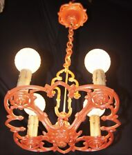 VINTAGE ART DECO ERA CHANDELIER CAST METAL CEILING LIGHT FIXTURE 1920 - 30's