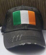 "Distressed Trucker Hat Low Profile Cotton Mesh Ireland Flag Hat ""Irish Flag"""