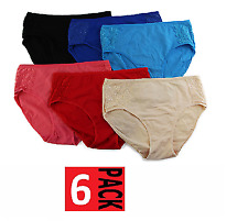 6 x WOMENS COTTON LACE HI CUT UNDERWEAR Brief Panties Bikini High Waisted Ladies