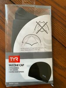 TYR  Silicone Swim Cap, Hypoallergenic  Black