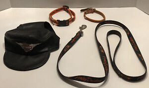 Harley Davidson Dog Bundle For Small Dog Leather Hat, Dog Leash, X2 Collars SM