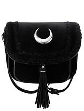Restyle Gothic Goth Occult Moon Mini Bag Black Velvet Shoulder Strap Witchy
