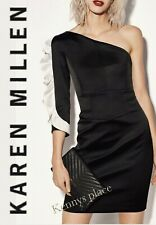 KAREN MILLEN Satin Pencil Dress UK14 EU42 Black RRP;£199 *BNWT* XMAS-New Year