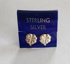 Vintage sterling silver pierced ear four leaf clover earrings unused