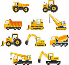Construction vehicle Cut Outs x 10 Wall Art - each vehicle A4 size