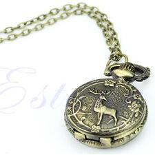 Classical Bronze Tone Deer Pendant Chain Necklace Taschenuhr Pocket Watch