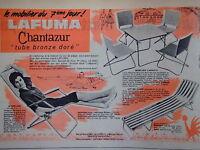 PUBLICITÉ DE PRESSE 1961 LAFUMA ANNEYRON CHANTAZUR TUBE BRONZE LIT CAMP