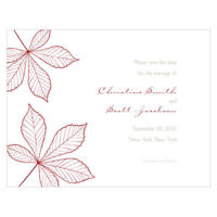48 Autumn Leaf Fall Printed Wedding Save Date Cards