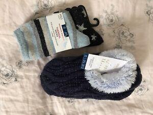 NEW M&S Ladies Christmas Navy Blue Knitted Fleece Booties Slipper Wool Silk Sock