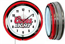 "Coors Light Beer 19"" Double Neon Clock Red Neon Man Cave Garage Bar Game Room"