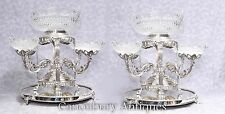 Pair Sheffield Silver Plate Epergnes Cut Glass Dishes Bowls Centrepiece