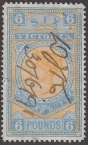 VIC 1886-96 high value Stamp Duty series. £6 fiscally used - SG 325