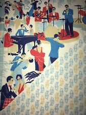Vtg 2.25 Yards Novelty Border Print Big Band Golden Age Trumpet Piano