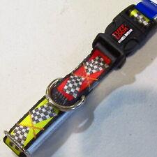"Medium Adjustable Dog Collar 12"" 18"" Tuff Lock 3/4"" Wide Racing Flag Yellow NOS"