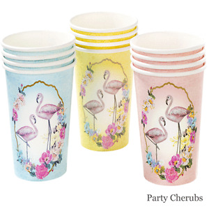 Flamingo Themed Paper Cups x 12 - Summer Party