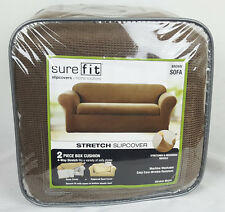 Sure Fit Stretch Metro Slipcover 2 Piece Box Cushion Sofa – Brown