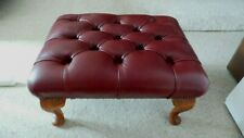 Beautiful Chesterfield Genuine Leather Deep Buttoned Queen Anne Footstool