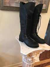GUESS SENSATION Women Sz 8 Steampunk Riding  Black Leather Lace  Boots Military