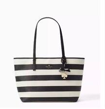 Kate Spade Hawthorne Lane Ryan Stripe Large Tote Bag in Deco Beige & Black New