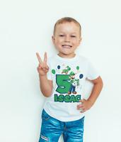 Personalised Birthday T- SHIRT/BODYSUIT Super mario Luigi Childrens, kids,