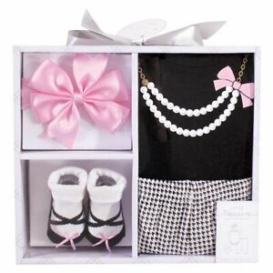 Little Treasure Boxed Gift Set 4-Piece, Black/Pink Pearls, 0-6 Months