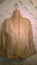 CHICO'S METALLIC GOLD CRINKLE OPEN EVENING/PROM JACKET RUFFLE TRIM  1 OR MED