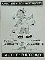PUBLICITÉ DE PRESSE 1948 PETIT BATEAU CULOTTES ET SOUS-VÊTEMENTS -B.MALLET
