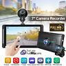 7'' HD 1080P Dual lens Car DVR Dash Cam Video Rear view Camera Recorder GPS