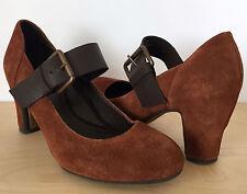 KENNETH COLE Reaction Womens Rust Orange Suede Leather Buckle Pumps Heels Sz 7.5