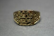 10K Solid Yellow Gold Diamond Cut 9MM Nugget Ring. Size 6