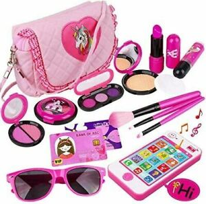 Pretend makeup  Set 19pcs Fake Cosmetic Toys Kit With Pink Purse Smartphone