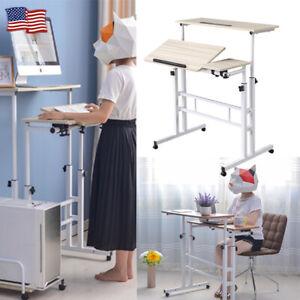 Height Adjustable Mobile Standing Desk Wheel Sit Stand Computer Workstation Home