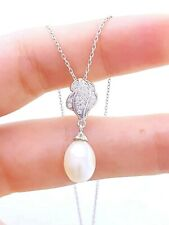 WHITE GOLD PLT PEARL NECKLACE BRIDAL JEWELLERY 925 STERLING SILVER TURKISH D869