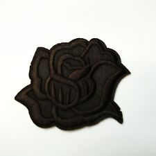 Dark Brown Rose Iron-On/Sew-On Embroidered Patch, Applique - Gothic Alternative