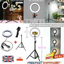 "10"" LED Ring Light Dimmable Lighting Kit Phone Selfie Tripod Stand Lamp Live UK"