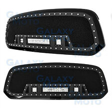 13-17 Dodge RAM Truck 1500 Rivet Black SS Mesh Grille+Black Shell+w/ LED Lights