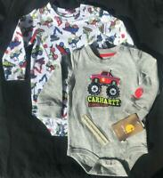 LOT of 2 Carhartt one piece infant baby BOYS MONSTER TRUCK/ CONSTRUCTION L/S 9M