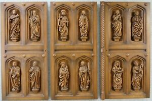 12 figures of the apostles finely carved from oak around 1960.