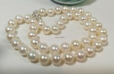 Genuine Silver 10-11mm circle 4A freshwater pearl necklace free earring L50cm WT