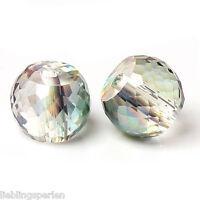 20 Glas Perlen Rund Mehrfarbig Transparent Facettiert zum Basteln 10mm