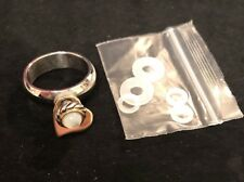 Staxx Interchangeable Ring With Mother Of Pearl/gold Heart Charm Size 6
