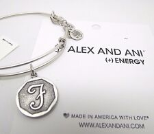 NEW with Tags Alex and Ani Initial Silver Letter F Charm Bangle Bracelet