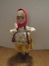 Vintage Poland 12' Cloth & Paper Mache Doll Colorful Outfit Red Babushka
