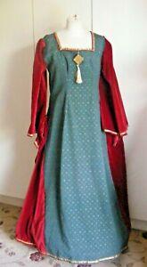 Vintage theatrical costume Tudor Queen medieval red velvet green brocade Large