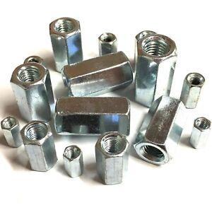 BZP Stud Connectors Long Nuts Threaded Bar Rod M5 M6 M8 M10 M12 M16 M20