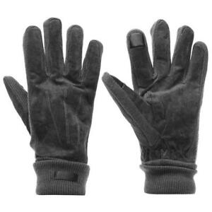 Pierre Cardin REAL Leather Suede Gloves Mens Grey One Size R632