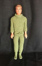 Vintage Ken Doll Mattel Inc 1968 Body. 1990 Head With Hand Knitted Outfit