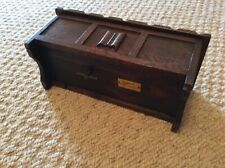 More details for small antique handmade woodcraft music box with tray made by tallent