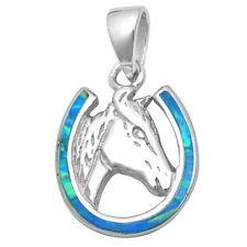 "Blue Opal Horse in Horse Shoe .925 Sterling Silver Pendant 1""x.5"""