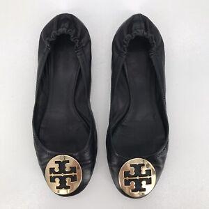 Tory Burch Minnie Travel Ballet Flats Black Leather Brass Metal Logo Womens 9